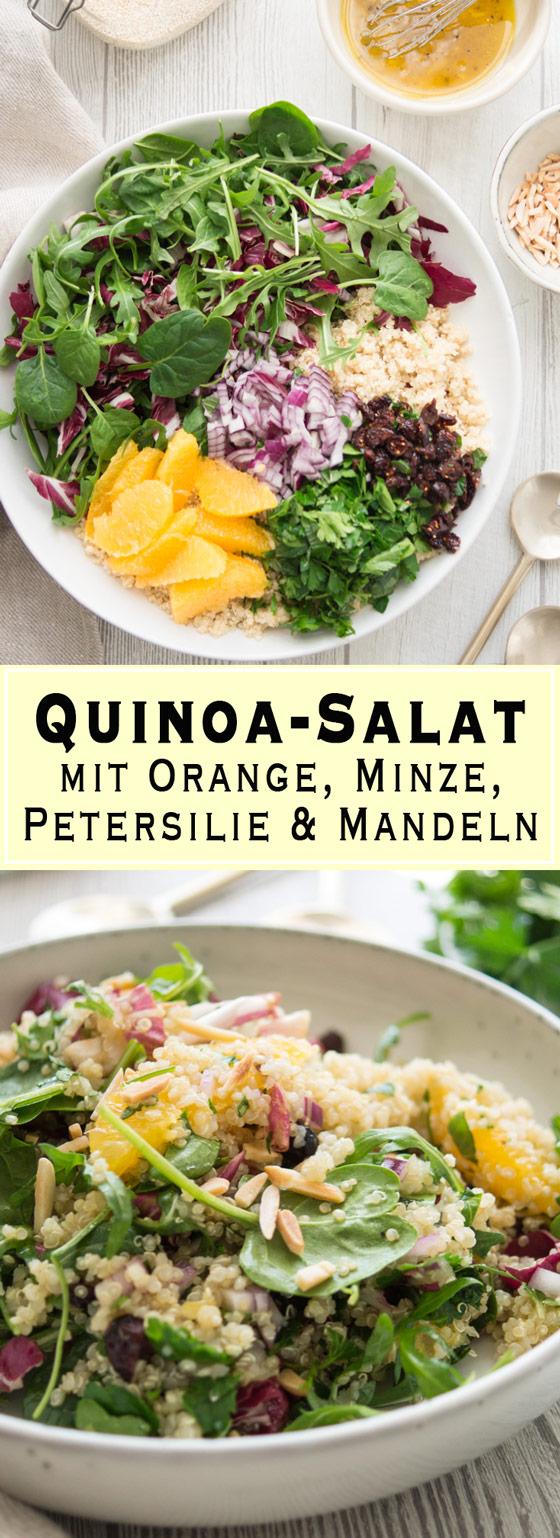 Quinoa-Salat mit Orange, Minze, Petersilie und Mandeln Rezept