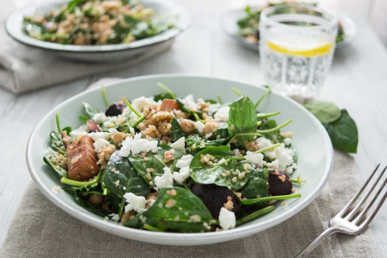 Spinach Salad with Beets, Chickpeas, Bulgur and Feta