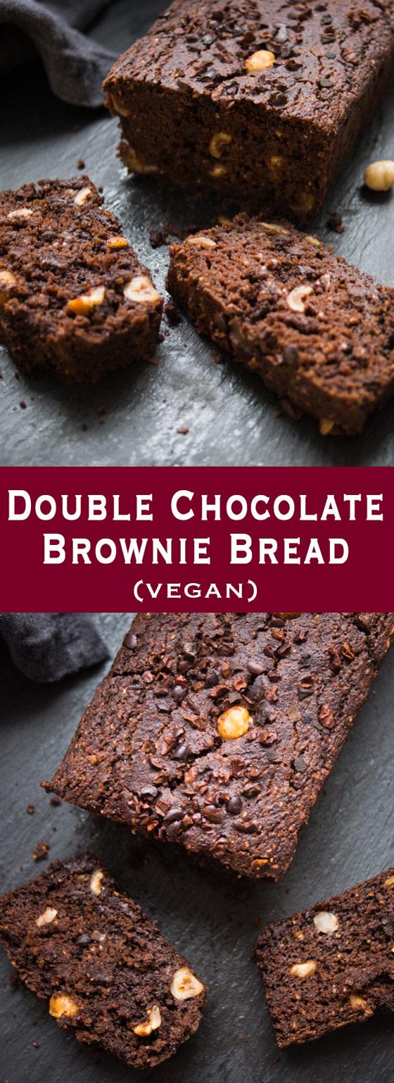 Double Chocolate Brownie Bread, Vegan Rezept für Schokoladen-Brot mit Haselnüsse
