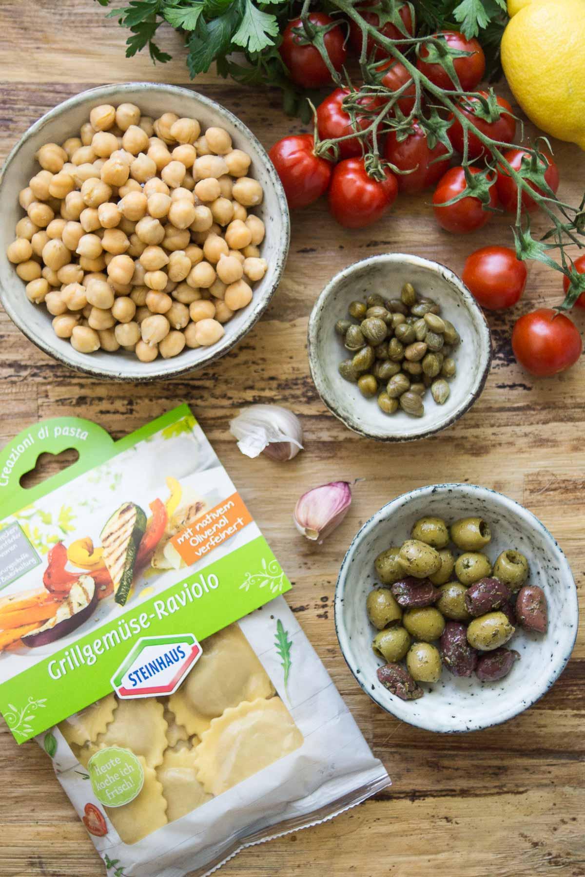 Zutaten für Mediterrane Grillgemüse Raviolo von Steinhaus