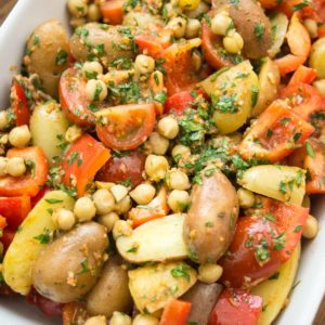 Spiced Potato Tagine with Chickpeas, Tomatoes and Red Pepper