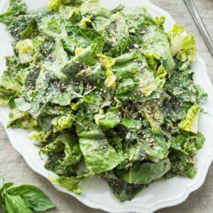 Vegan Caesar Salad with Mixed Seeds & Herbs