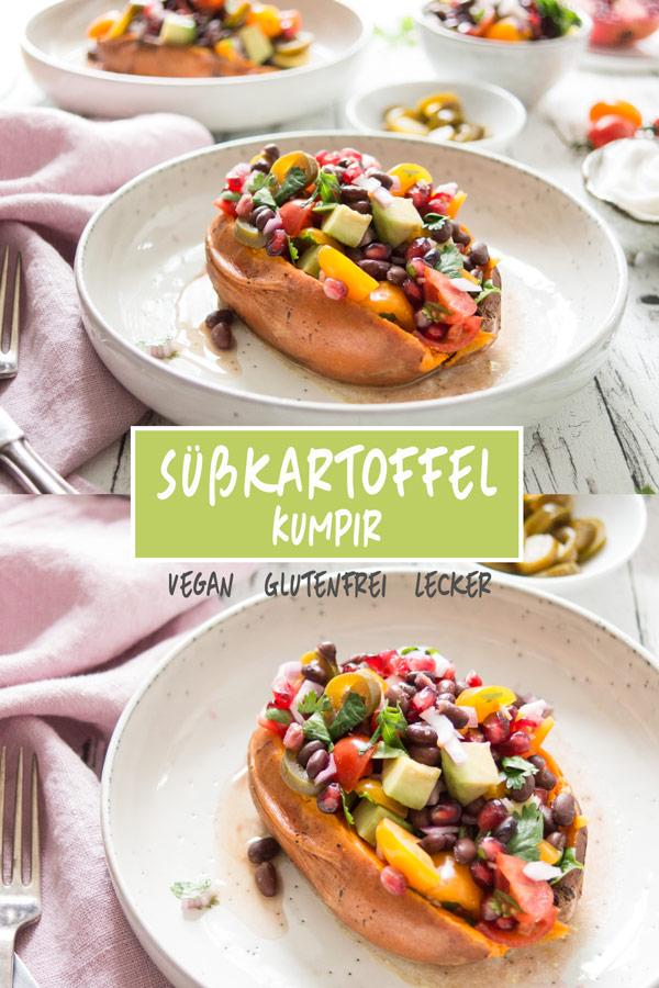Vegane Süsskartoffel-Kumpir (Gefüllte Süßkartoffeln) mit schwarze Bohnen TexMex Salsa Rezept