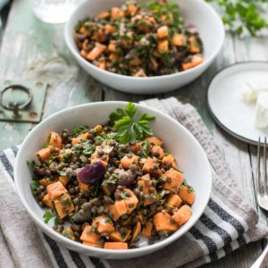 Roasted Sweet Potato Lentil Salad