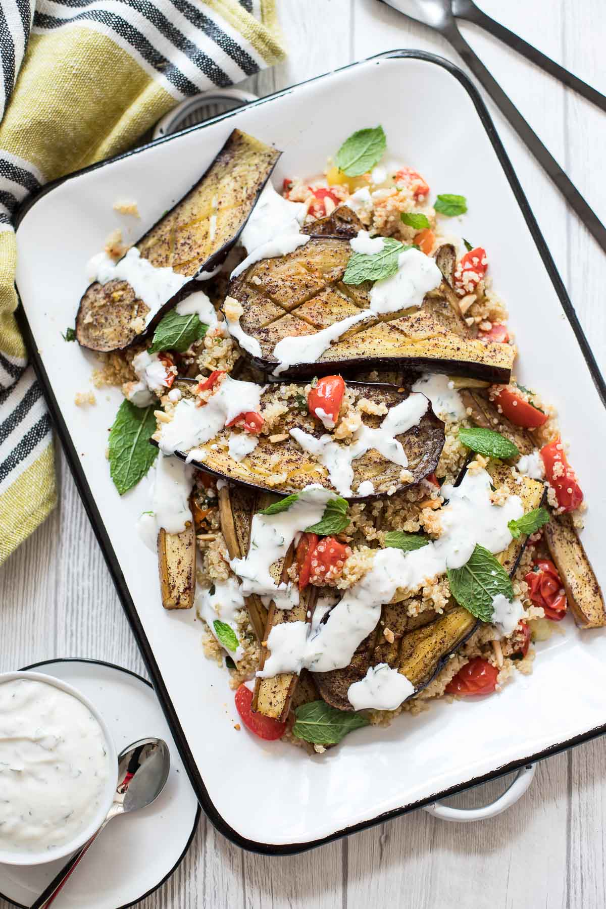 Sumac Roasted Eggplant and Tomatoes with Quinoa