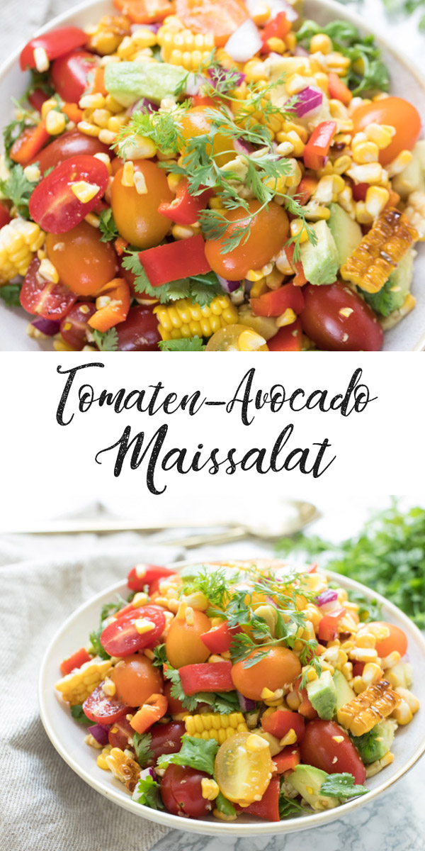 Einfaches Tomaten-Avocado-Maissalat Rezept, Vegan