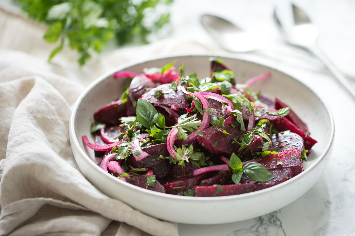 Moroccan Beet Salad with fresh herbs