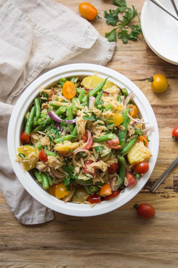 Spanish Orzo Pasta Salad with Potatoes & Green Beans
