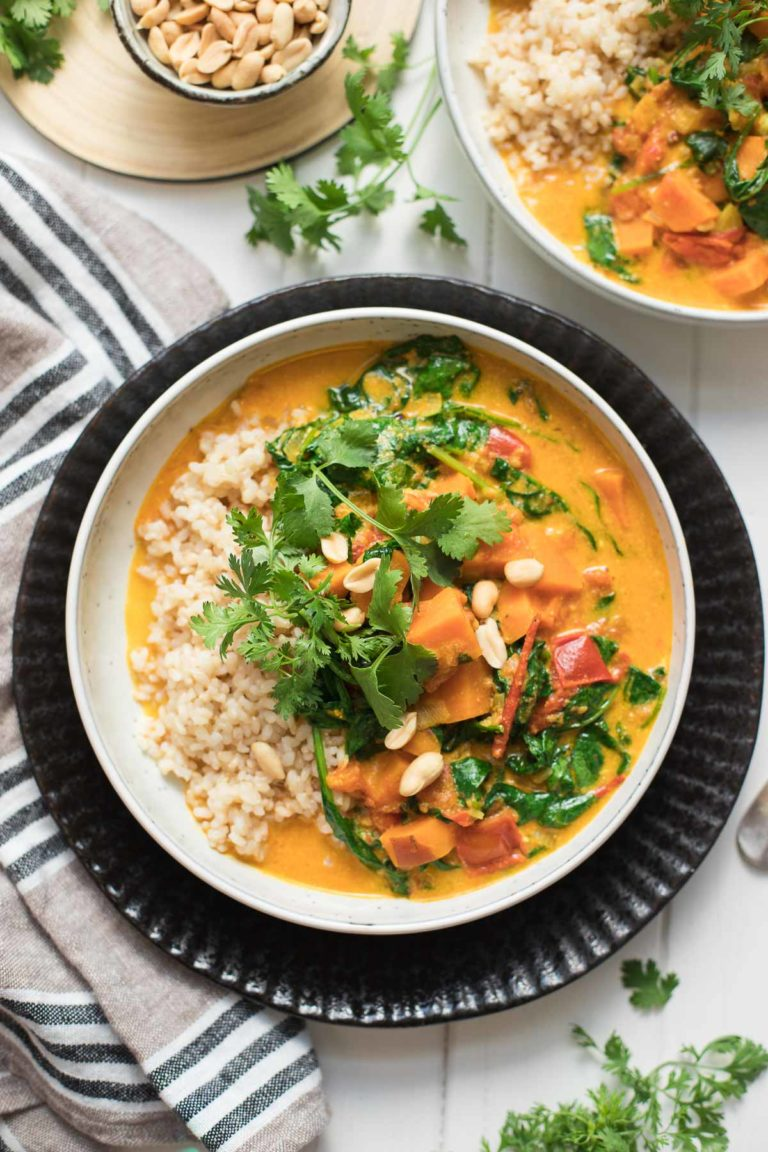 Sweet Potato Peanut Stew with Coconut & Spinach