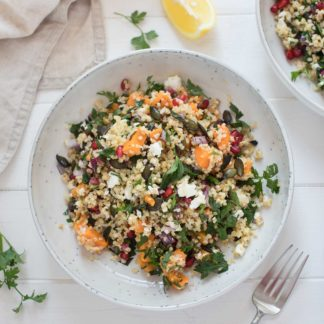 Tabbouleh with Sweet Potatoes, Feta and Pumpkin Seeds