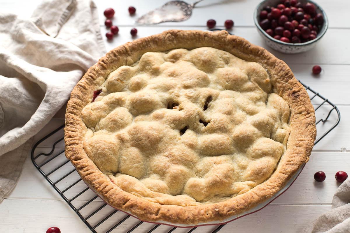 Amerikanischer Apfelkuchen Rezept (American Apple Pie) mit Cranberries