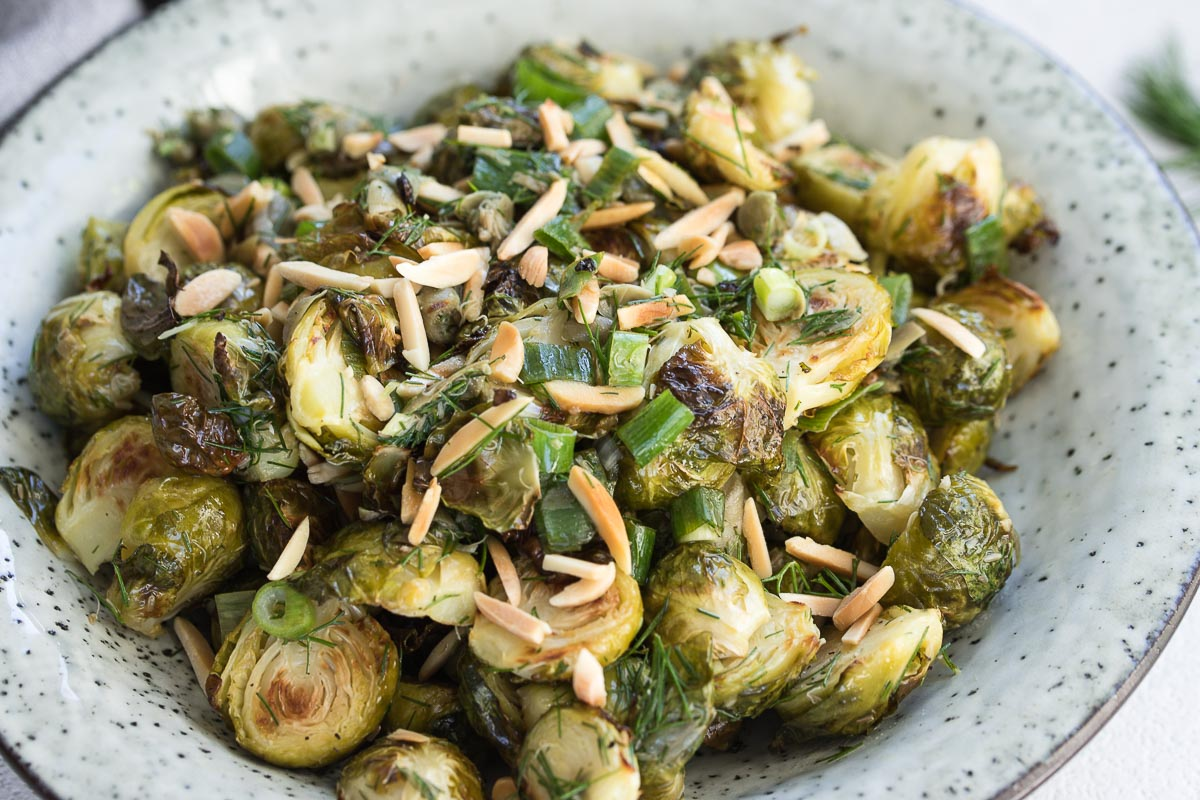 Mediterranean Style Roasted Brussels Sprouts with Capers, Dill & Lemon