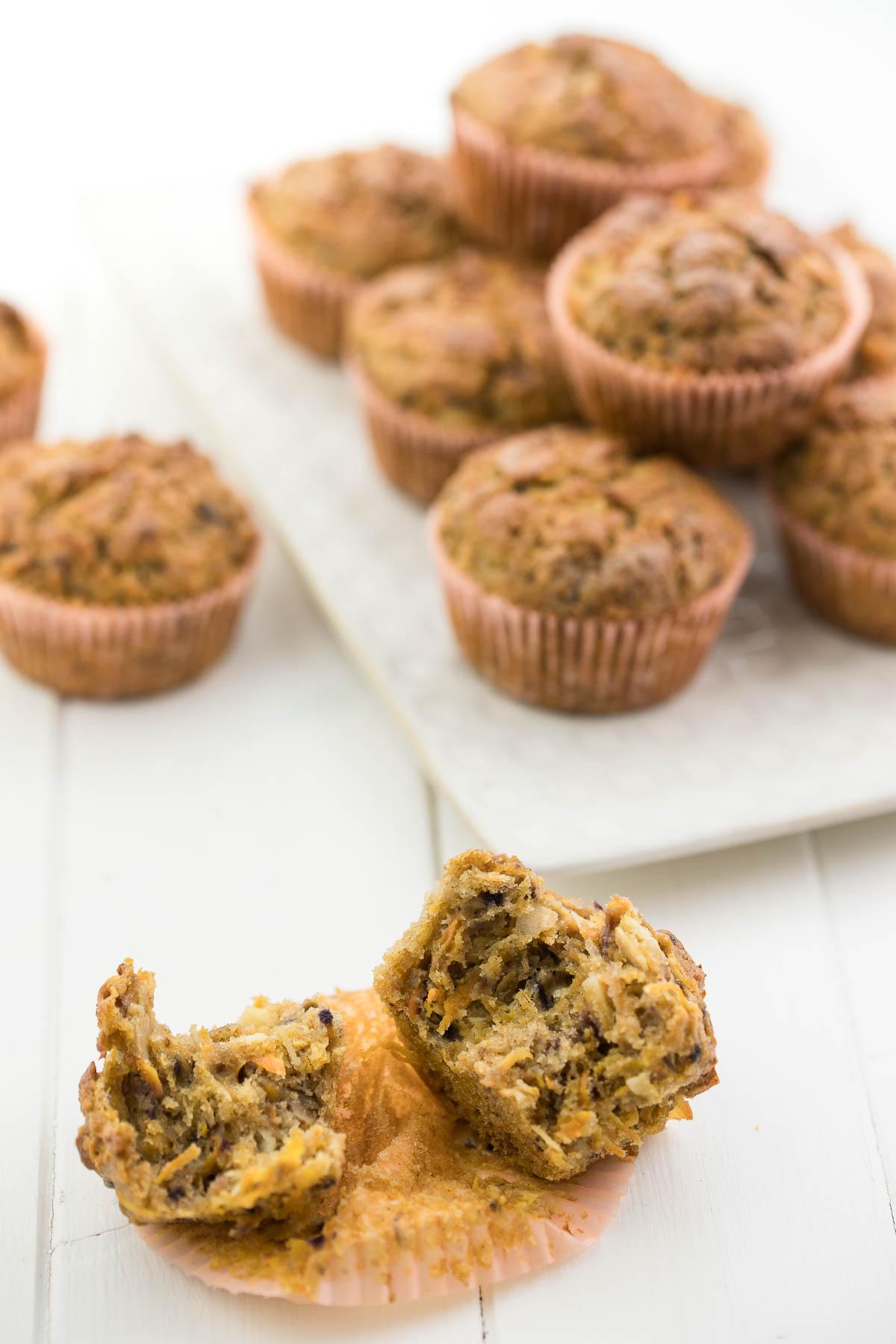 Karotten-Muffins mit Ingwer und Kokos