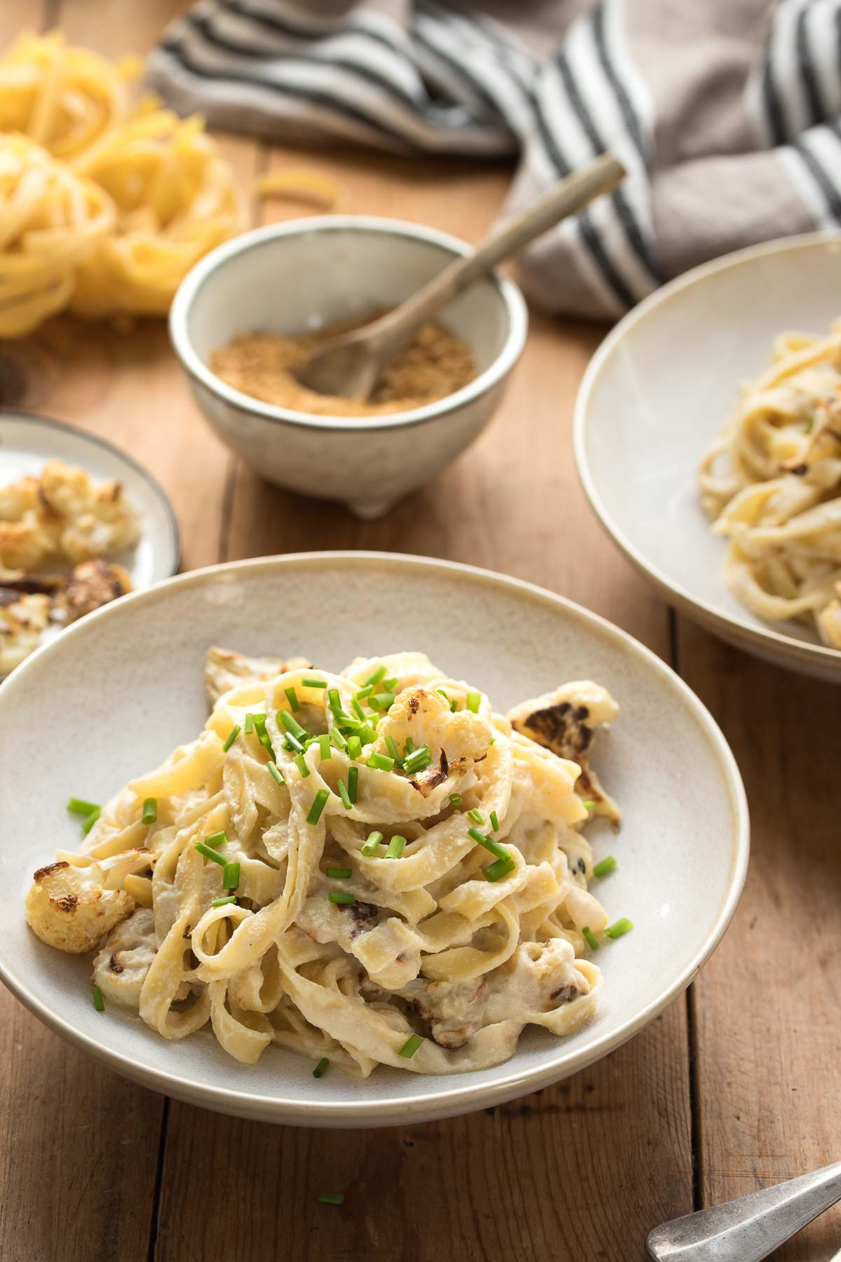 Vegan Fettuccine Alfredo with Roasted Cauliflower with Cashew Sauce