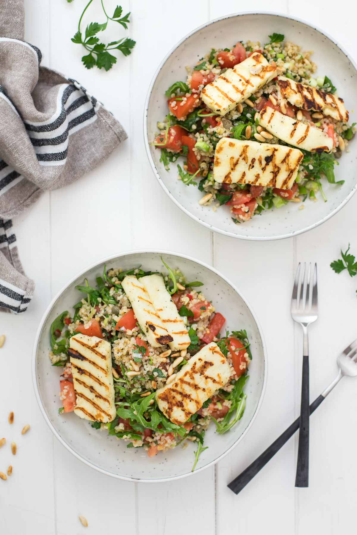 Bulgur Salad with Halloumi and Lemon-Caper Dressing