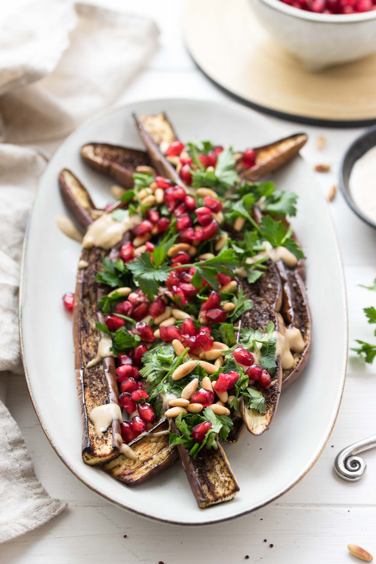 Roasted Japanese Eggplant with Tahini Sauce