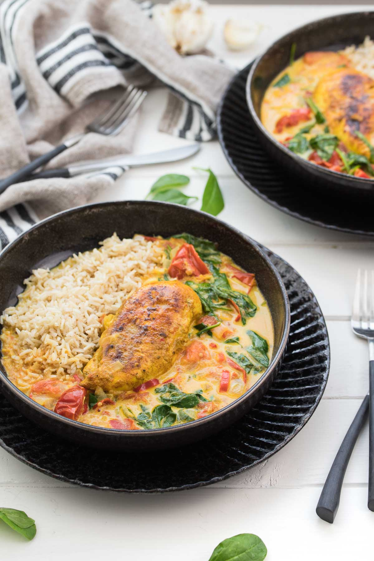 Spicy Coconut Chicken Skillet with Tomatoes and Spinach