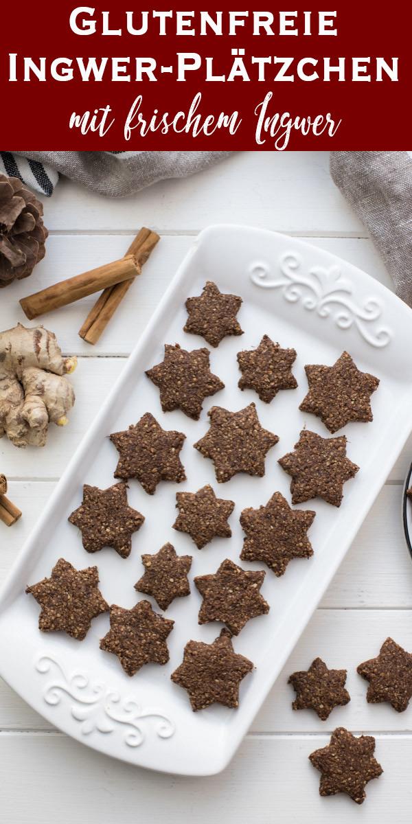 Glutenfreie Ingwer-Kekse mit Frischen Ingwer, Zimt, Ahornsirup, unraffiniertem Rohrohrzucker und Mandeln Rezept