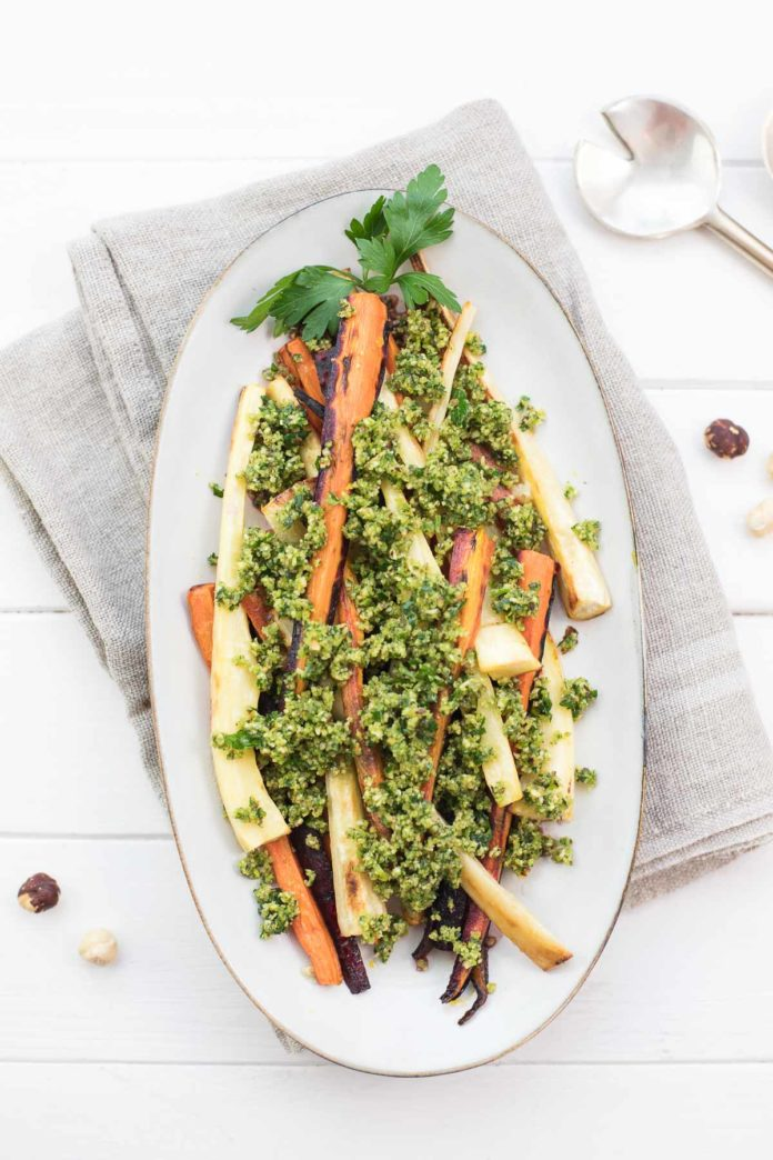Oven-Roasted Parsnips and Carrots with Hazelnut Gremolata
