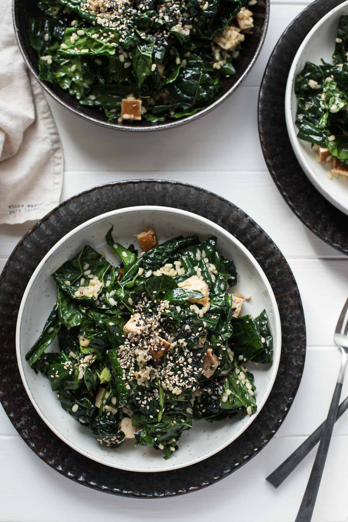 Asian-Style Kale Salad with Brown Rice and Smoked Tofu