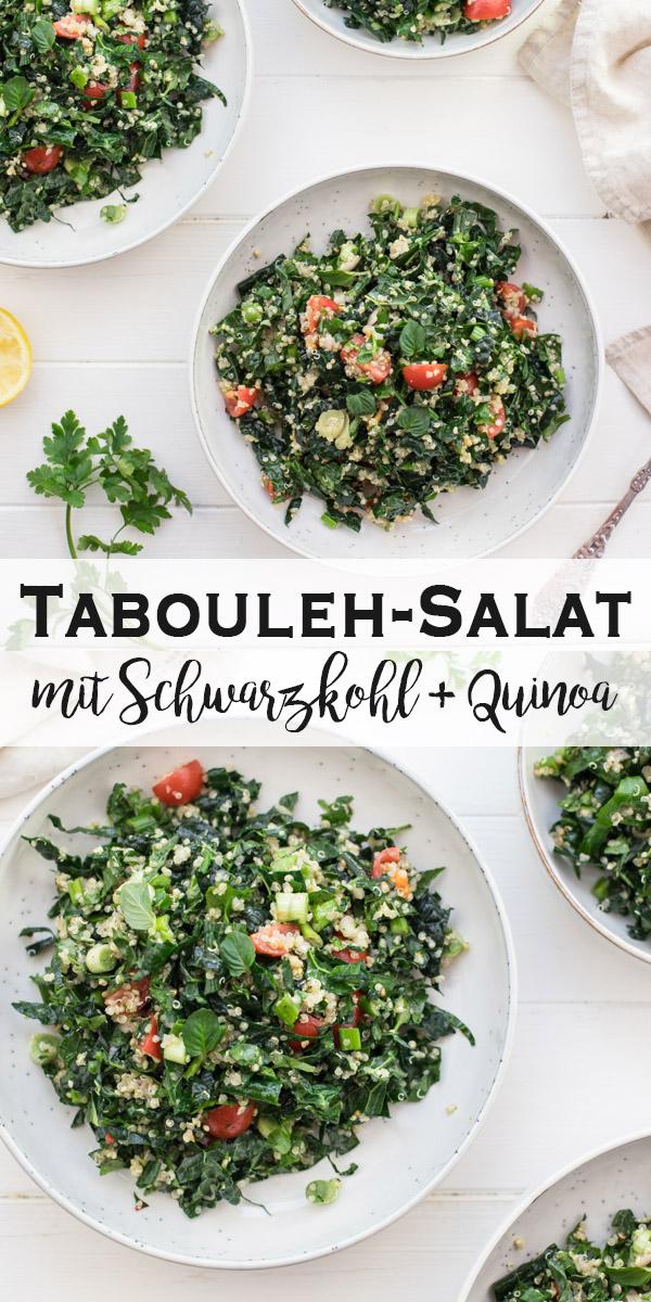 Tabouleh-Salat mit Schwarzkohl, Quinoa, Tomaten, vegan rezept