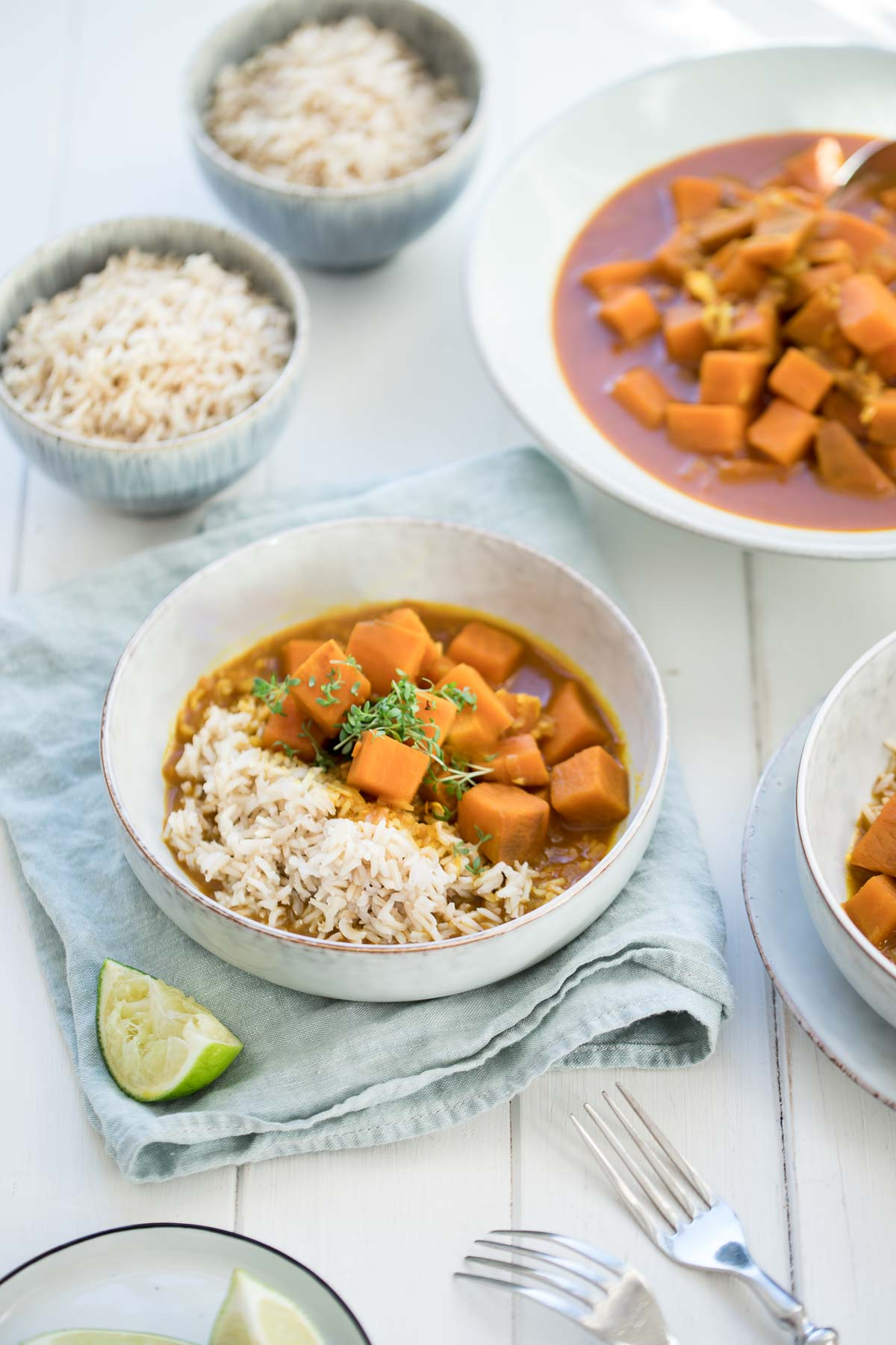 Sweet Potato Red Curry with Turmeric & Lime