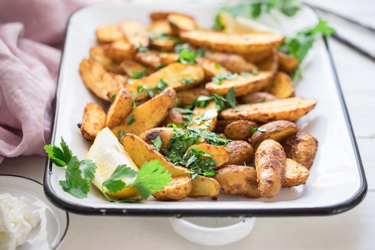 Harissa Kartoffeln Rezept, Harissa Gewürzmischung mit Ofenkartoffeln und Petersilie