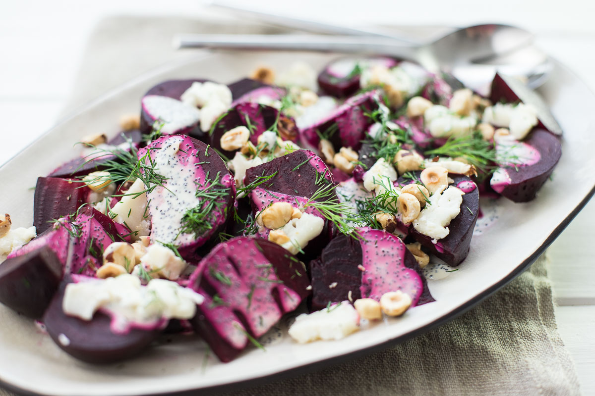 Beet Salad with Goat Cheese, Hazelnuts and Poppy Seed Dressing