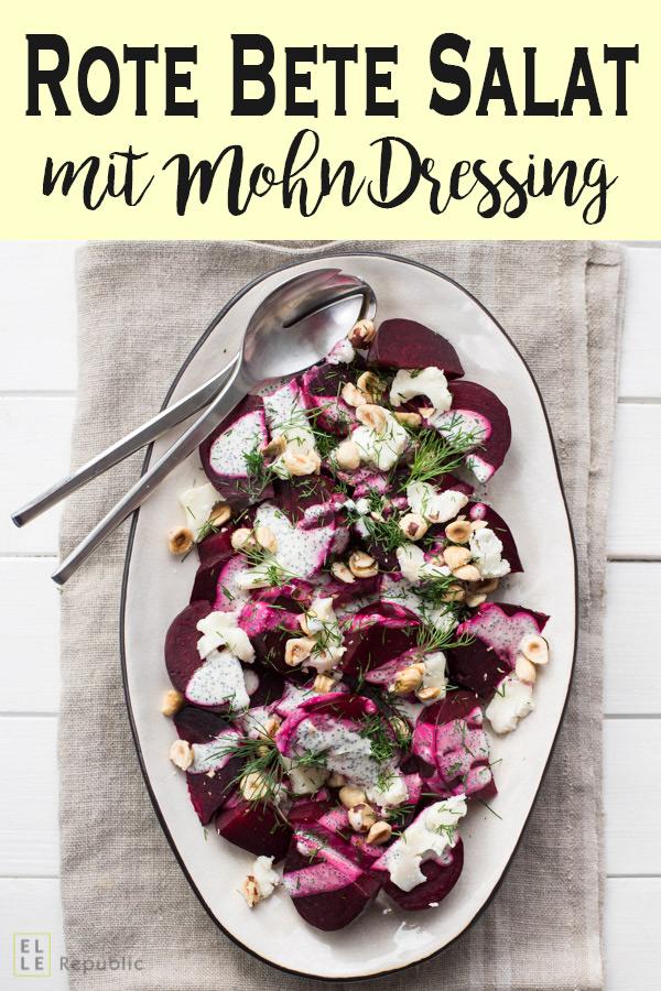 Rote Bete Salat mit Ziegenkäse, Haselnüssen, Dill und Mohn-Dressing Rezept