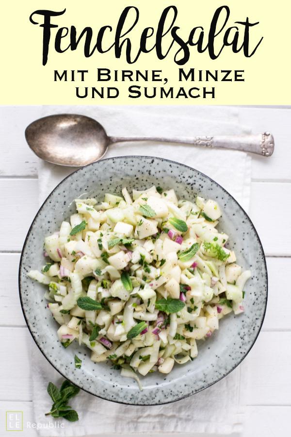 Fenchelsalat mit Birne, Minze und Sumach