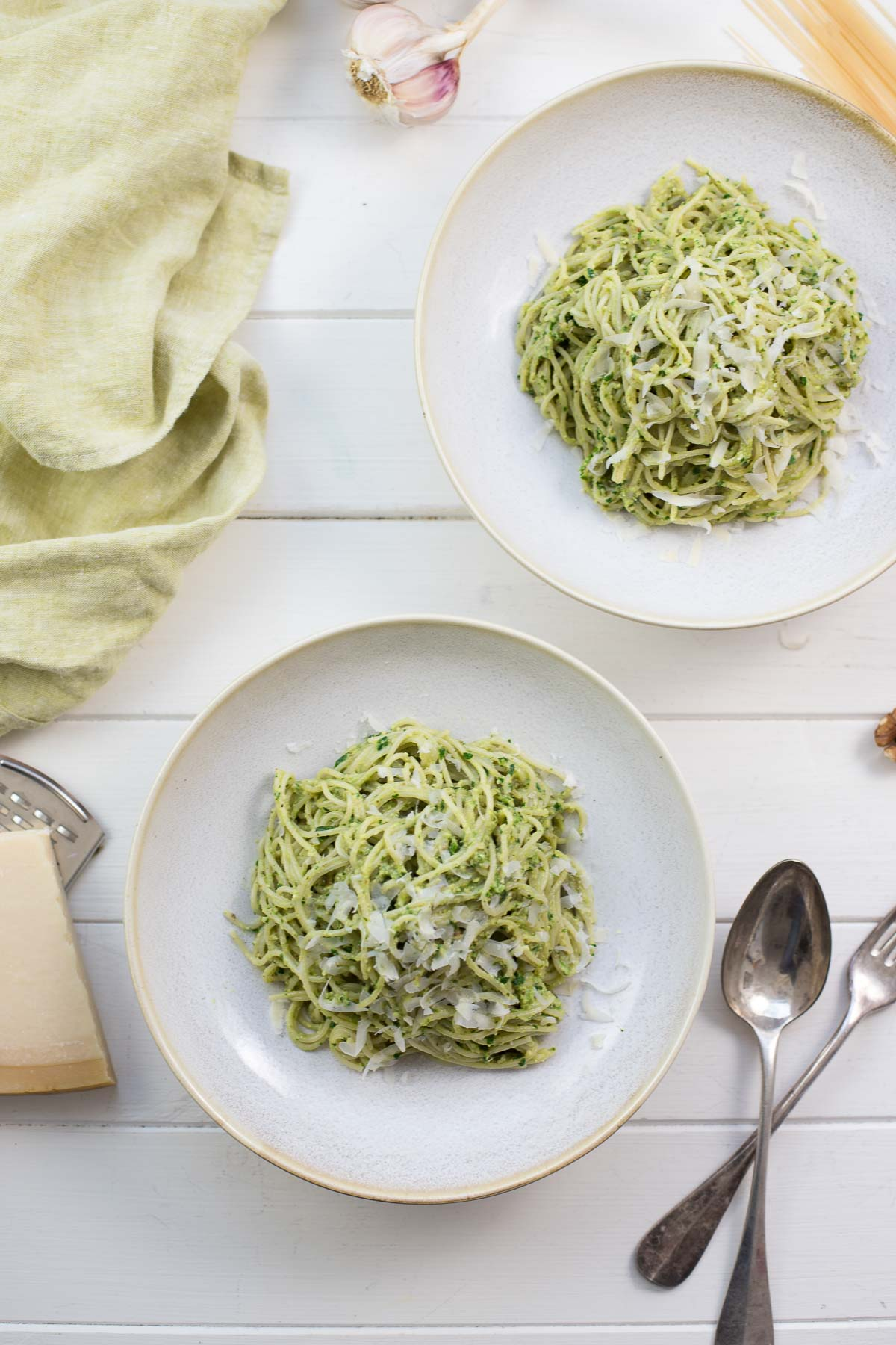 Cappellini with Parsley Walnut Pesto