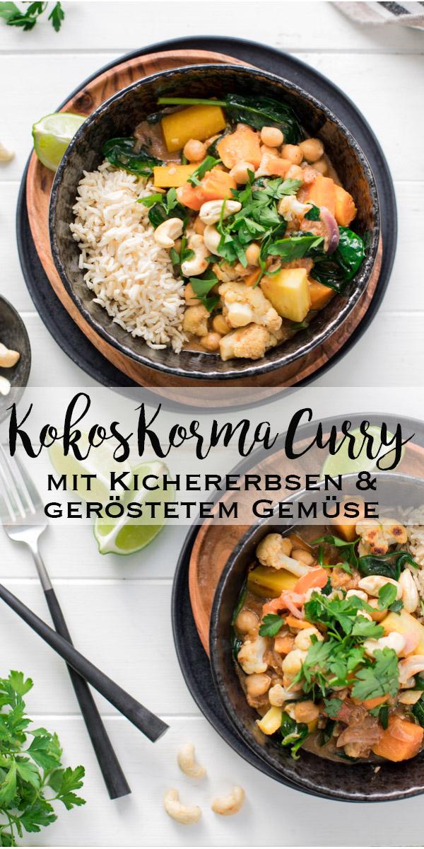 Korma Curry mit Kichererbsen, Kokosmilch & geröstetem Gemüse, vegetarische Rezept