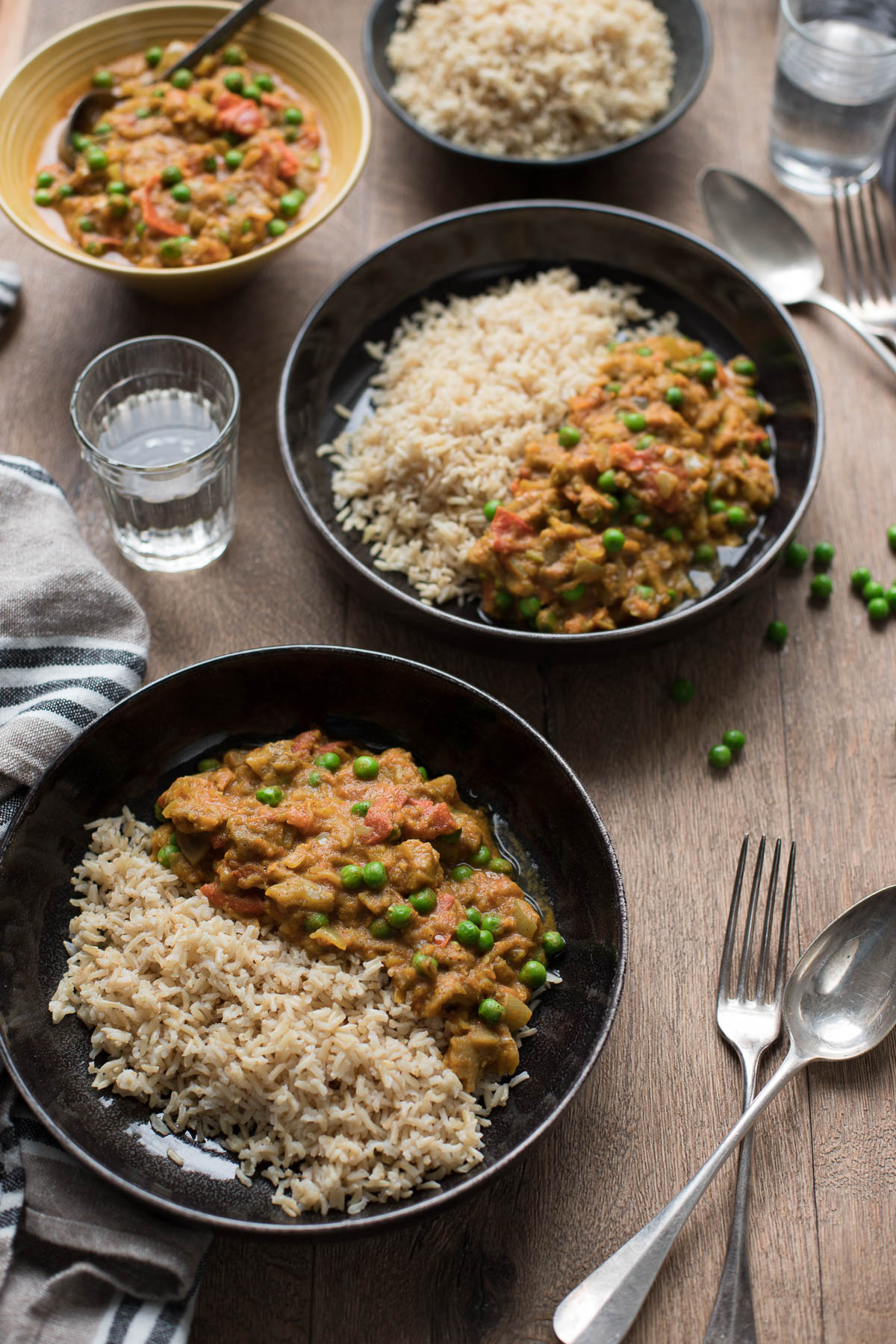 Spicy Indian Eggplant Curry, Vegan Aubergine Baingan Bharta with Basmati Rice