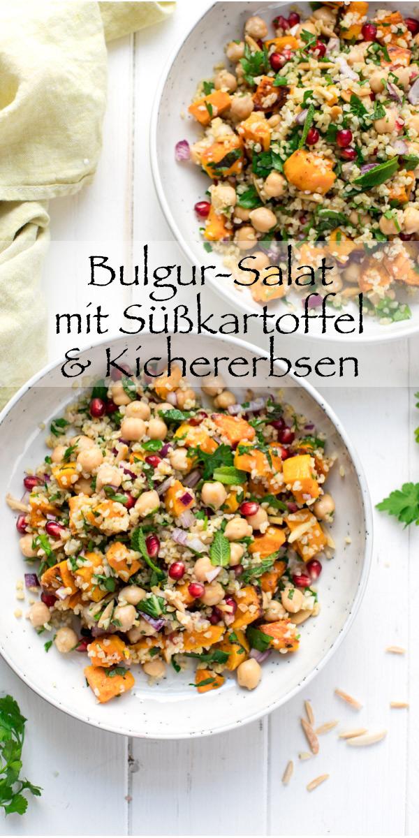 Bulgur-Salat mit Süßkartoffel, Kichererbsen und Kräutern
