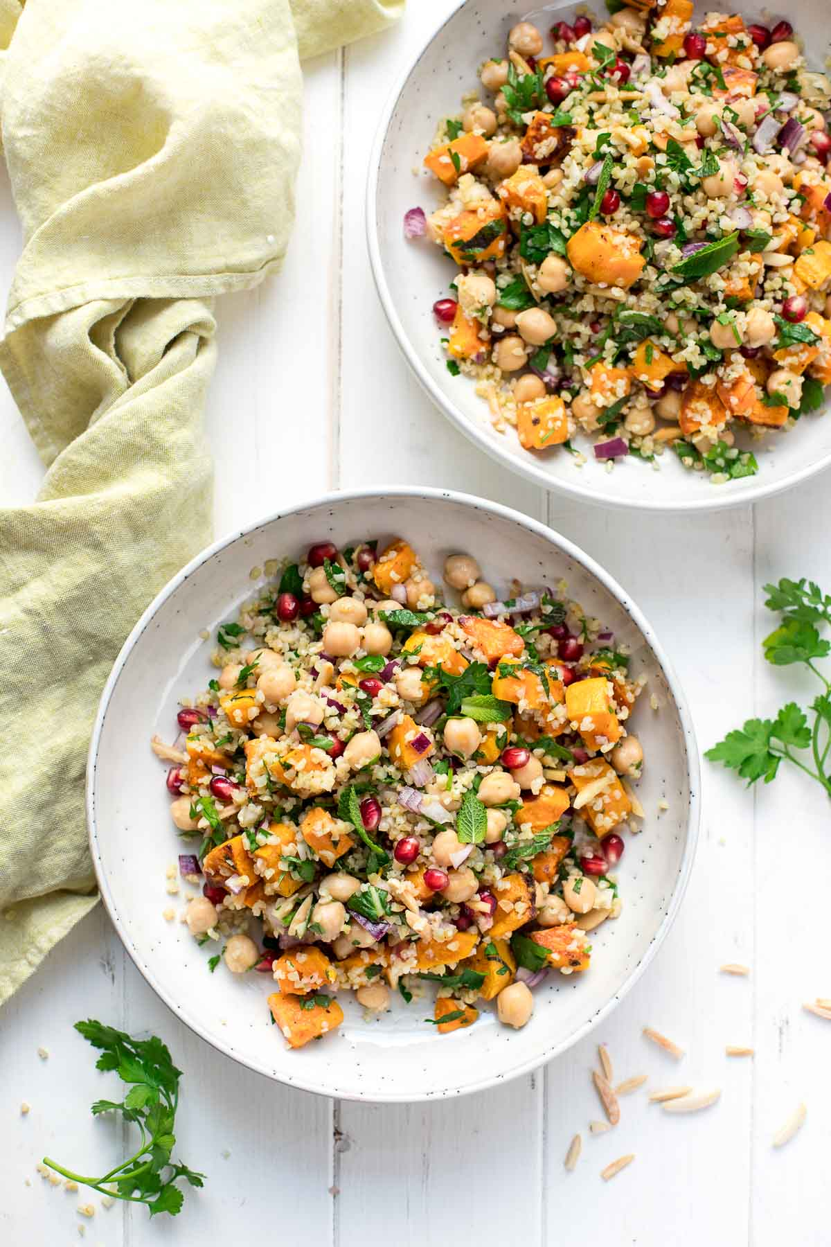 Bulgur Salad with Sweet Potatoes, Chickpeas, Herbs and Almonds