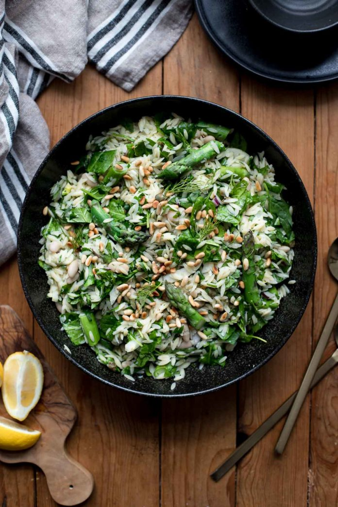 Asparagus Orzo Salad with Herbs and Lemon