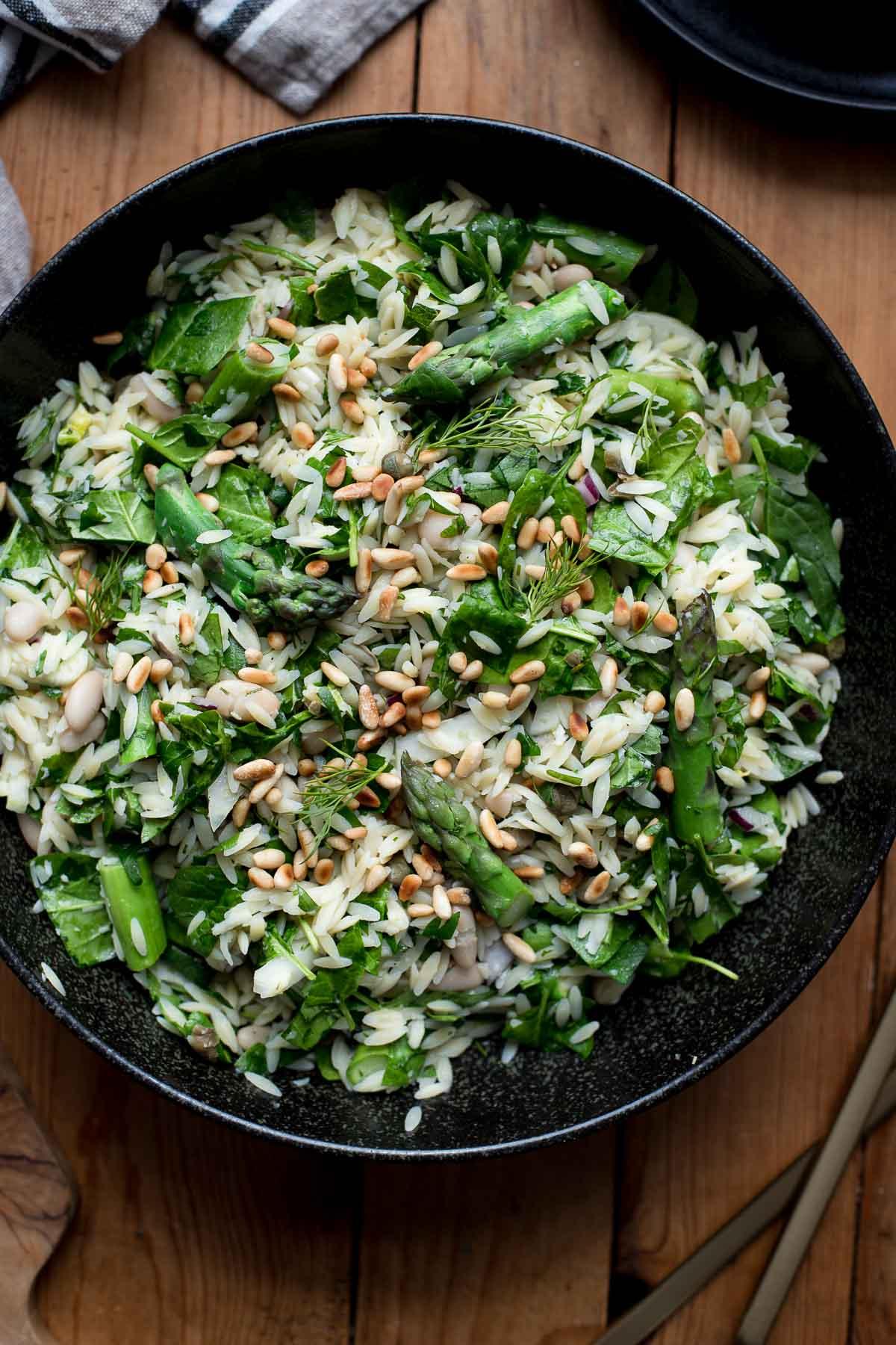 (Risoni, Kritharaki) Asparagus Orzo Salad with Herbs and Lemon
