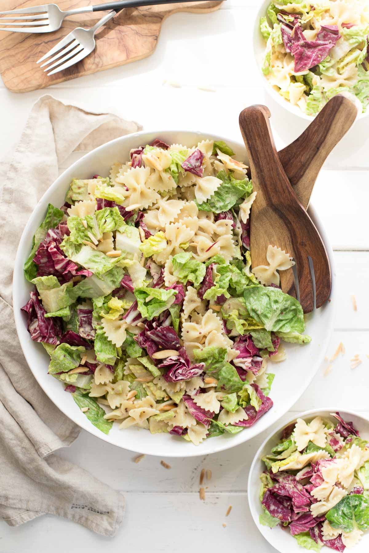 Caesar Pasta Salat with almonds, tahini dressing (vegan)