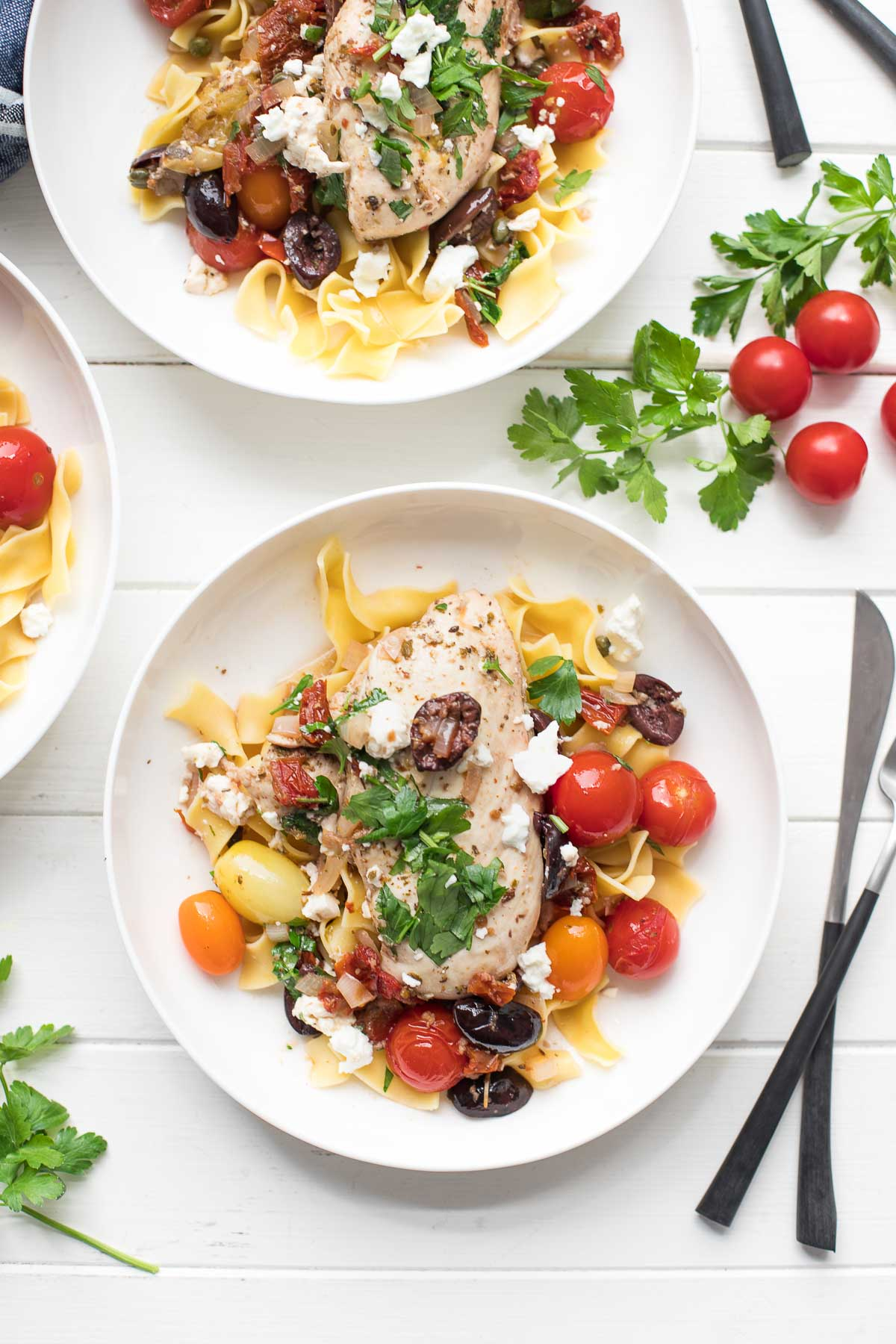 Mediterranean Chicken Skillet with olives, sun-dried tomatoes and egg noodles