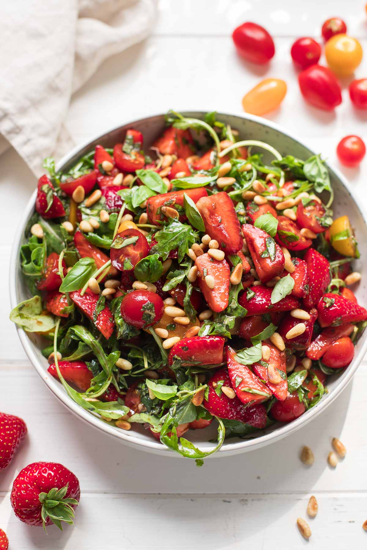 Summer Salad with Strawberries, Tomatoes, Mint & Basil