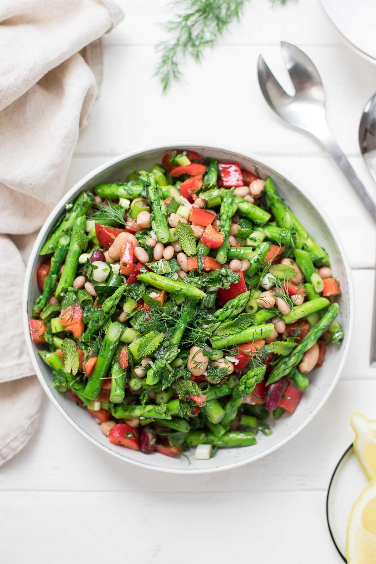 Asparagus Salad with Mixed Beans, Lemon and Herbs