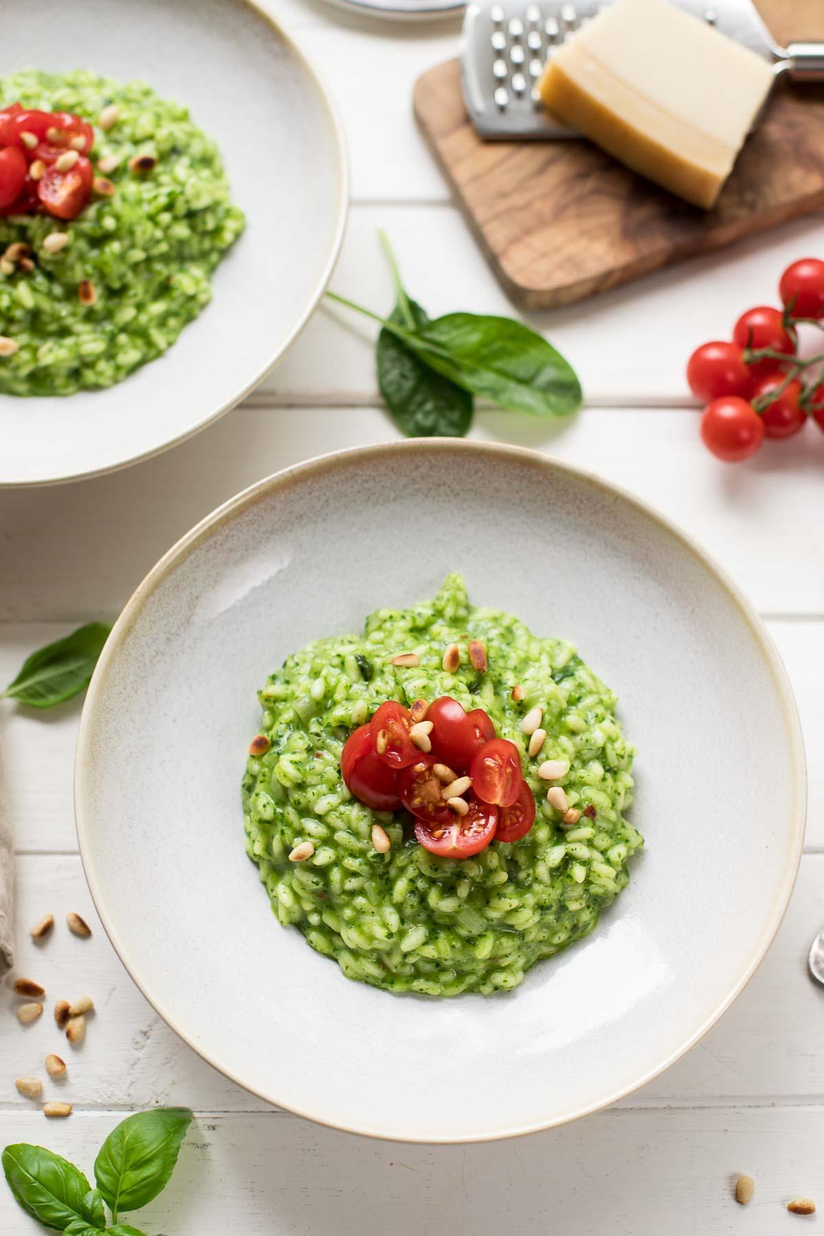Spinat-Risotto mit frischen Kräutern, vegetarisch Risotto Rezept