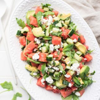 Watermelon Salad with Feta, Cucumber, Avocado & Mint