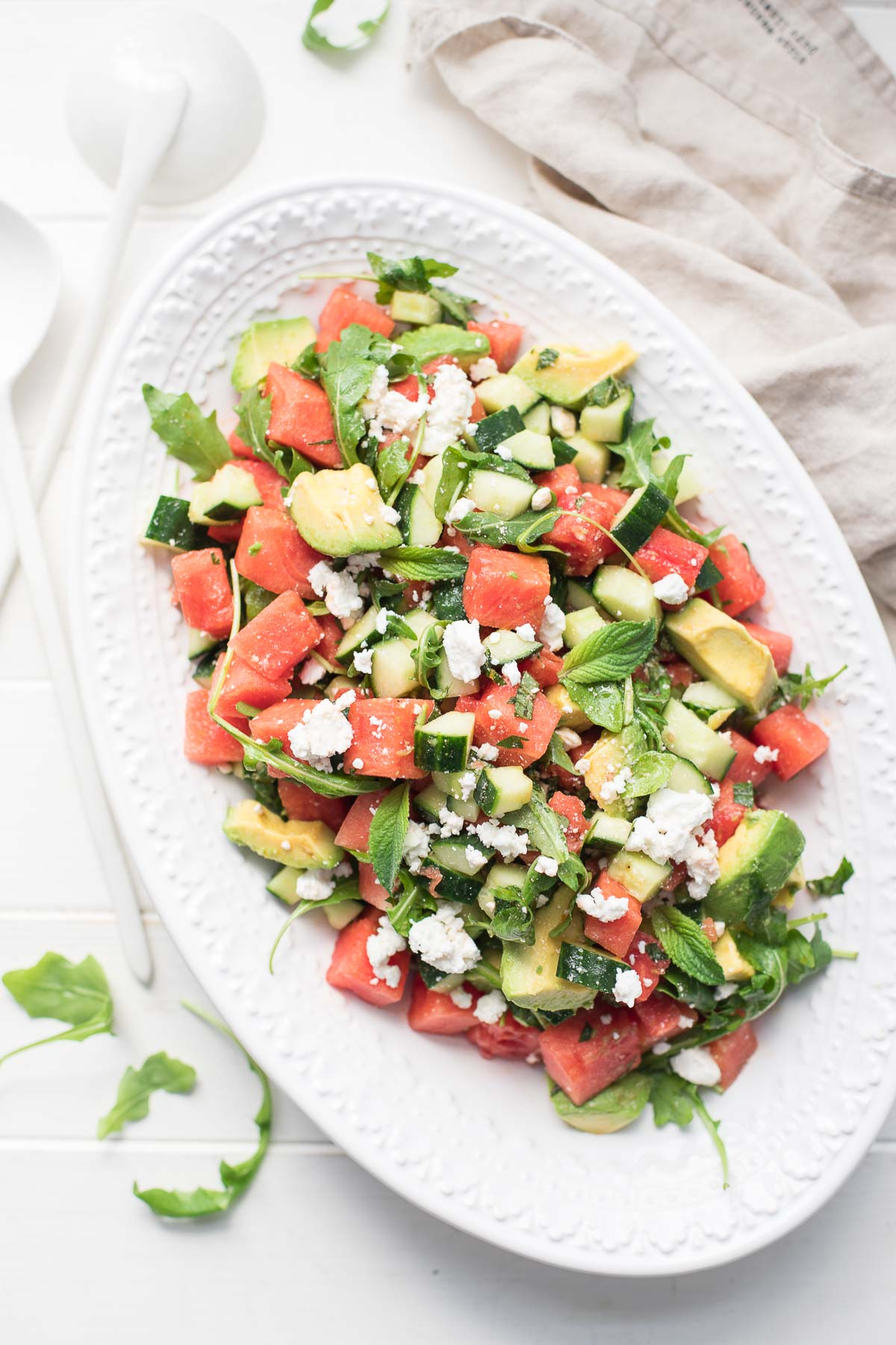 Watermelon Salad with Feta, Cucumber, Avocado & Mint