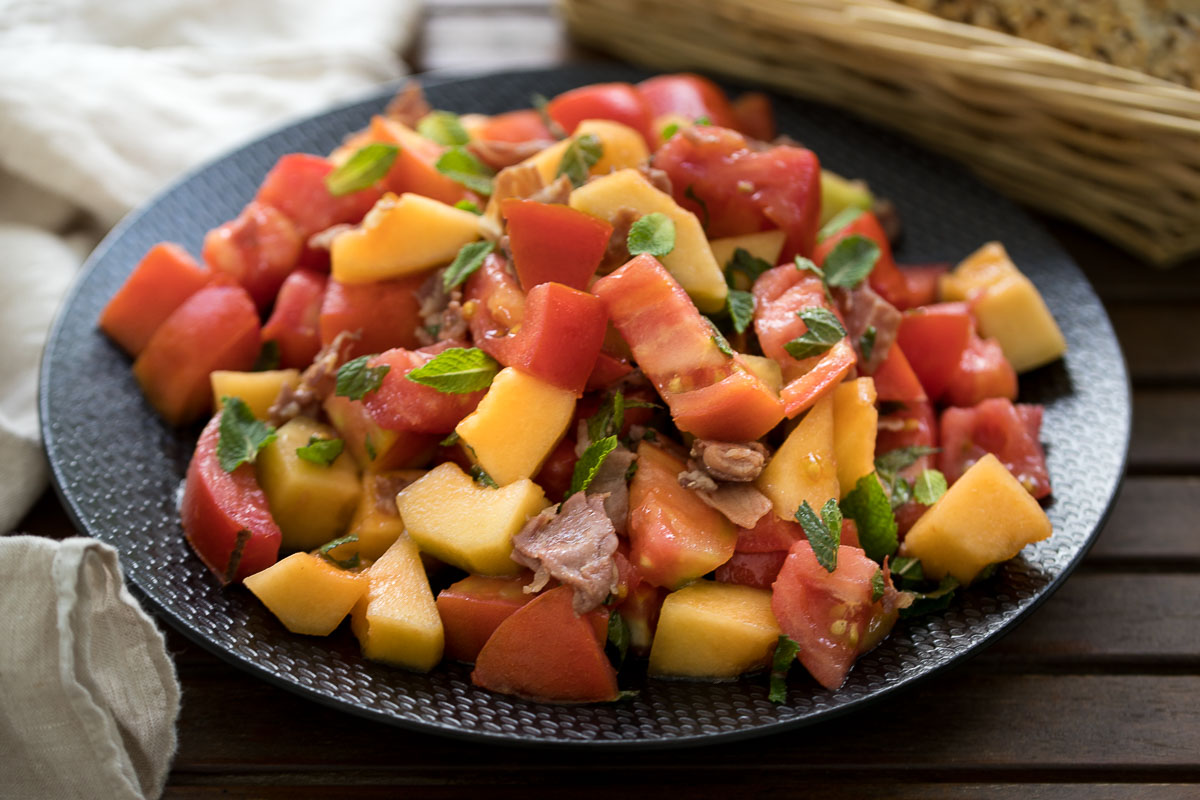 Tomato-Melon Salad with Crispy Prosciutto & Mint