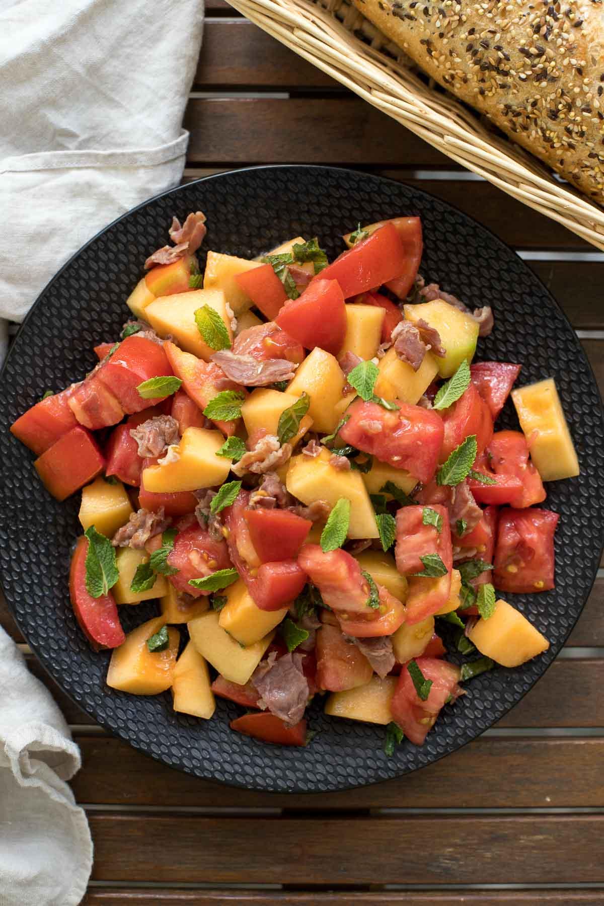Tomato-Melon Salad with Crispy Prosciutto & Mint