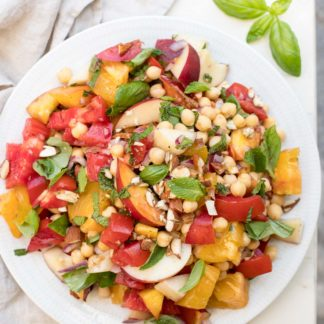 Tomato Nectarine Salad with Chickpeas, Almonds & Herbs