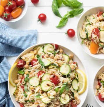 Orzo Salad with Zucchini and Chickpeas, summer pasta salad