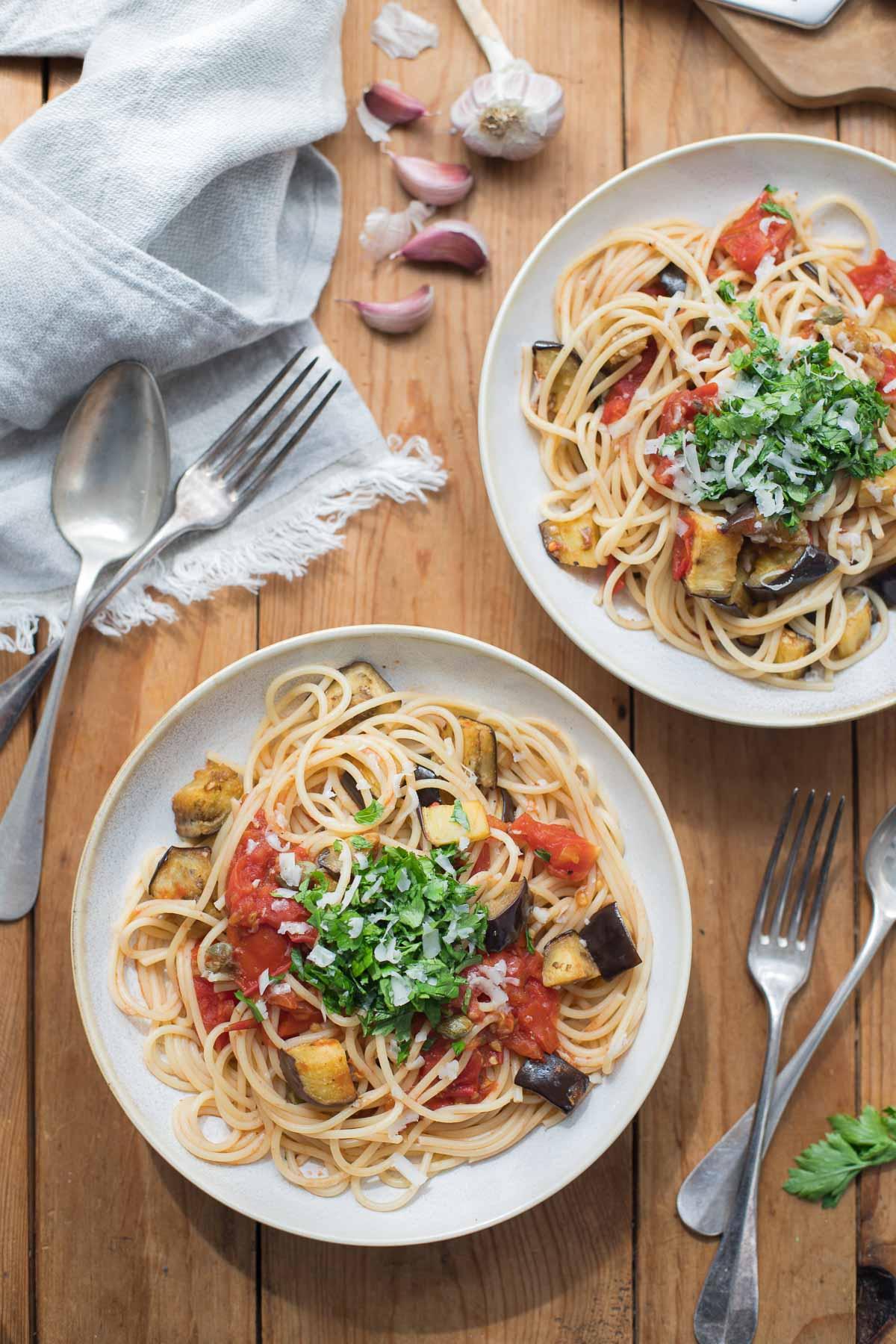 Roasted Eggplant Tomato Pasta