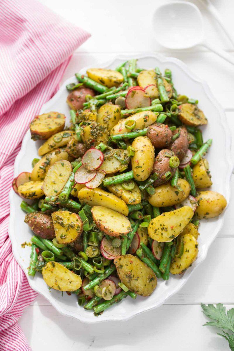 Chimichurri Kartoffelsalat mit grünen Bohnen, vegan Rezept
